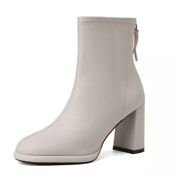 Beige Square Heels Ankle Boots - Trendo Chick