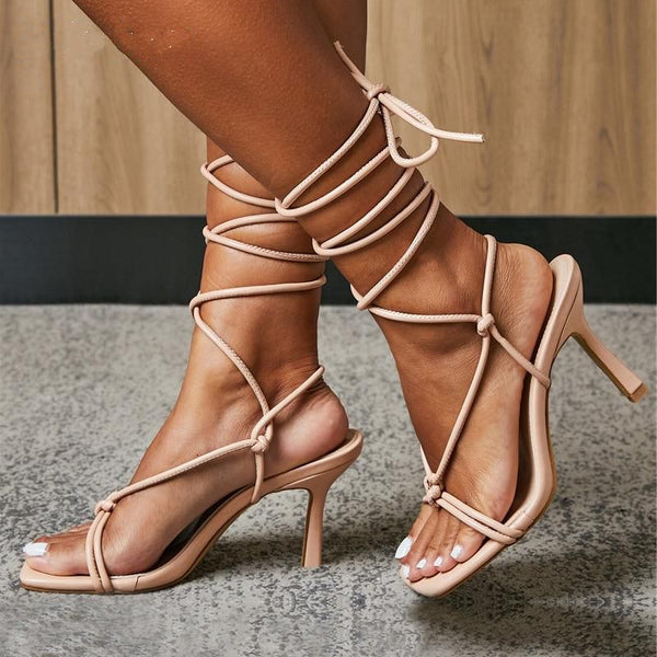 Beige Lace-up Sandals - Trendo chic