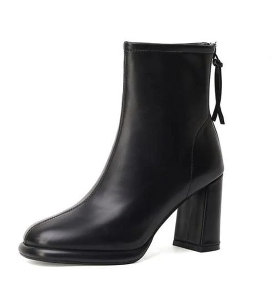 Black Square Heels Ankle Boots - Trendo Chick