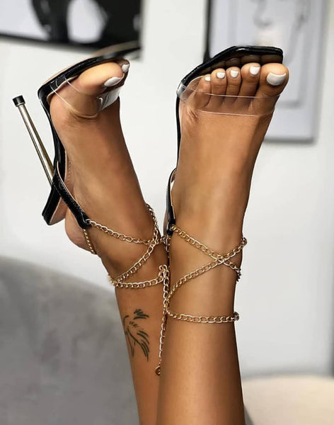 Black Ankle Chain High Heel Sandals - Trendo Chic