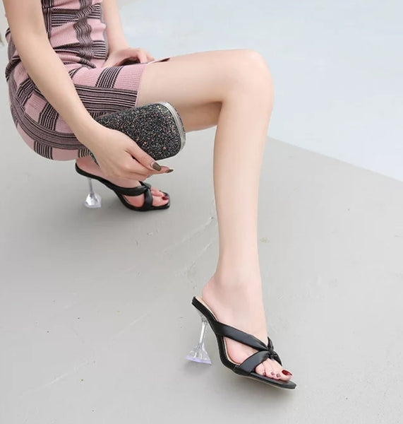 Black Cross Strap Pyramid heel Sandals - Trendo Chic
