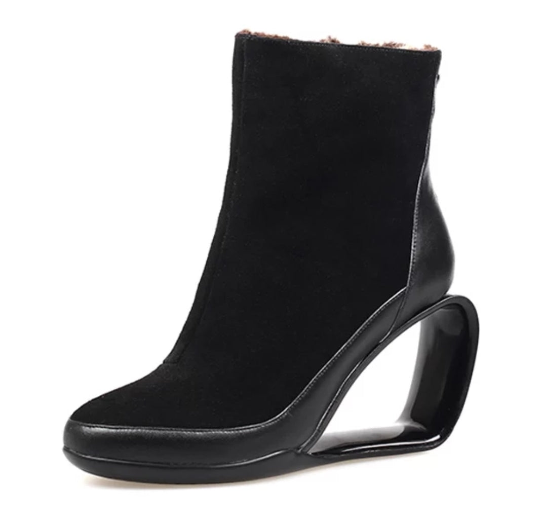 Hollow Wedge Ankle Boots