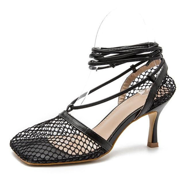 Black Mesh Lace-up Heels - Trendo Chic