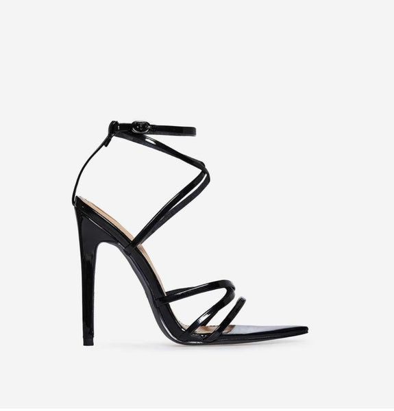 Black Strappy Pointed Toe Sandals - Trendo Chic