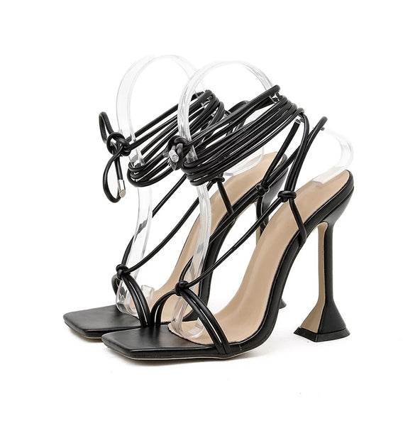 Black Pyramid Heel Lace-up Sandals - Trendo Chic