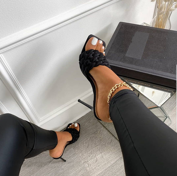 Quilted High Heel Mule