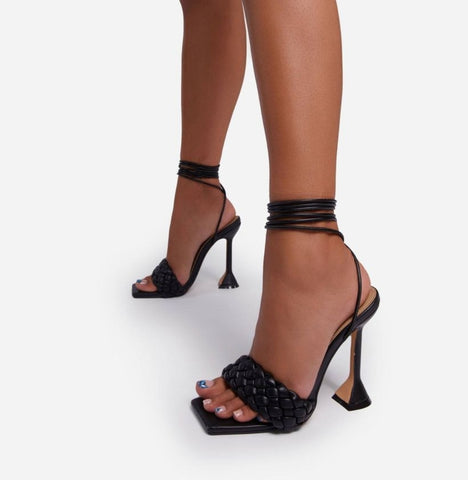 Black Quilted Lace-up Heels - Trendo Chic
