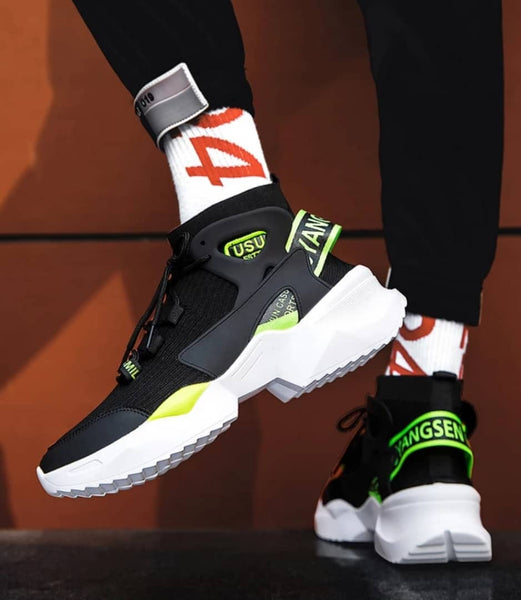 Black & Green Chunky Sneakers - Trendo Chic