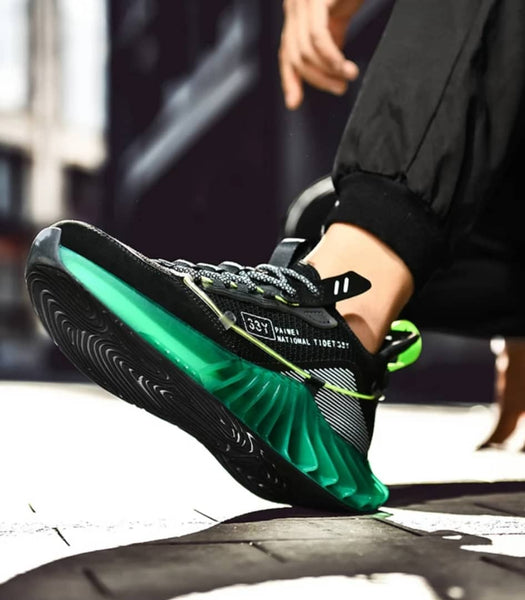 Black & Green Chunky Sneakers for Men - Trendo Chic