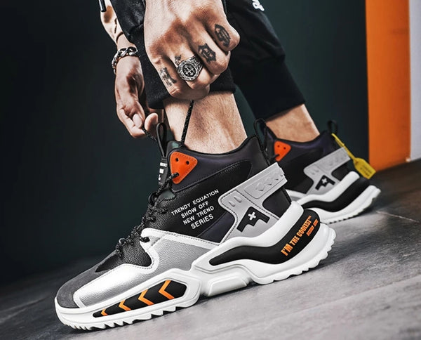 Black & Orange Chunky Sneakers - Trendo Chic