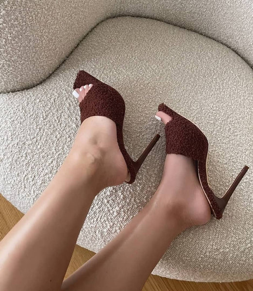 Brown Faux Fur Square Toe High Heels - Trendo Chic