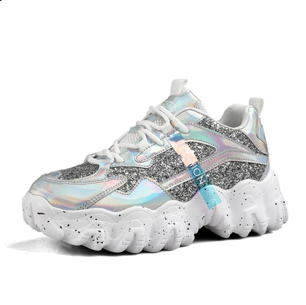 Silver Chunky Sneakers for Women - Trendo Chic