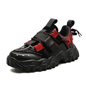 Black & Red Chunky Sneakers - Trendo Chic