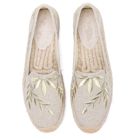 Gray Embroidered Espadrilles - Trendo Chic