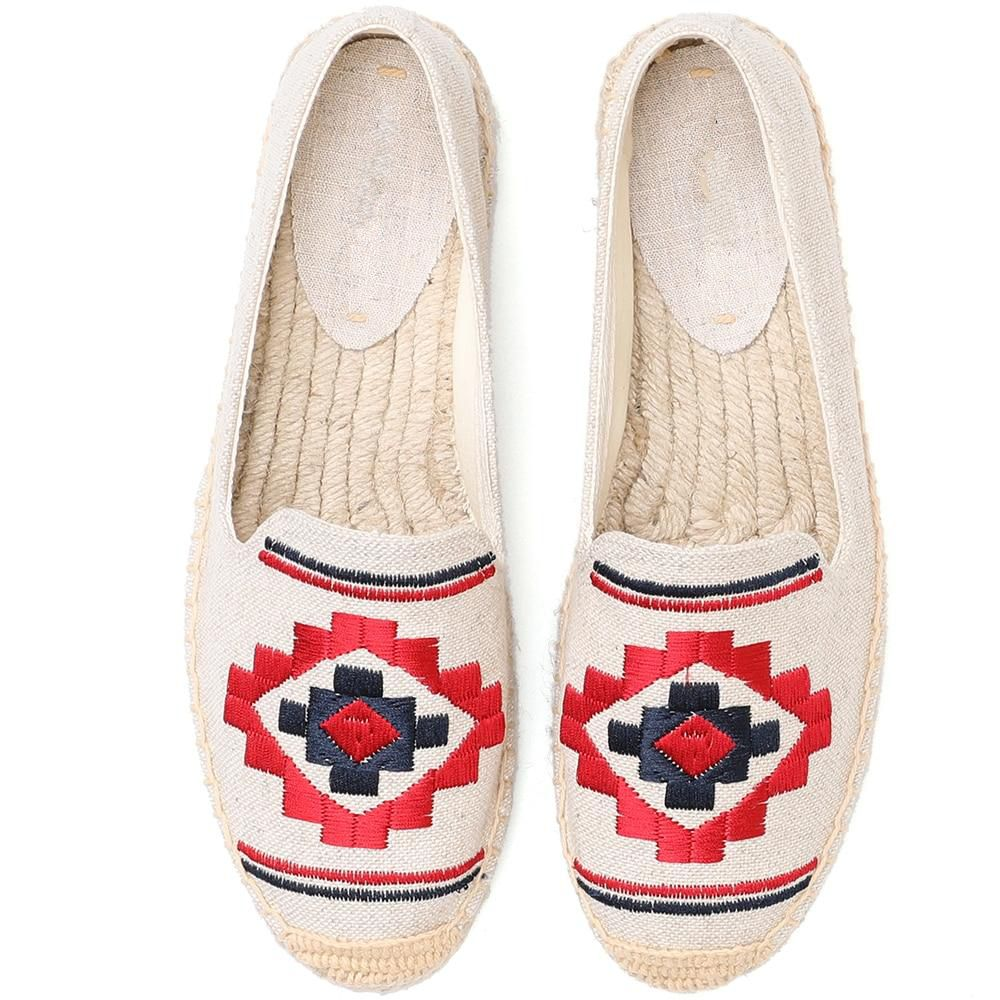 Beige Embroidered Espadrilles - Trendo Chic