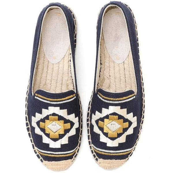 Navy Blue Embroidered Espadrilles - Trendo Chic