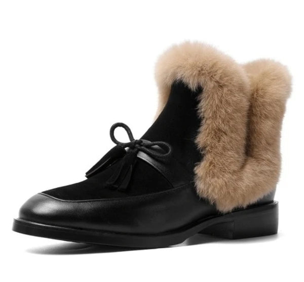 Black Furry Ankle Boots - Trendo Chic