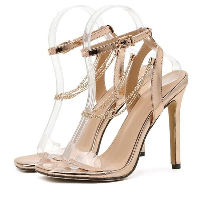 Gold Buckle Strap High Heels Sandals - Trendo Chic