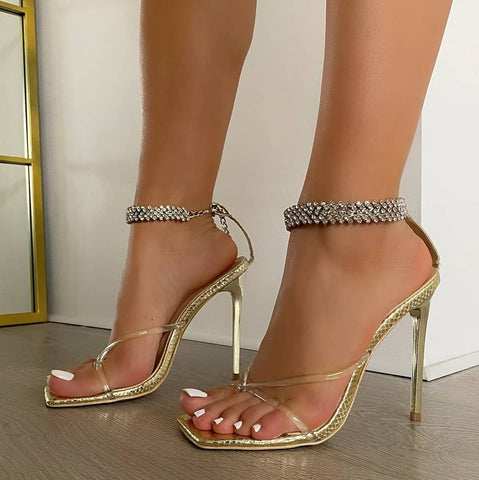 Gold Diamante Ankle Strap Heels - Trendo Chic