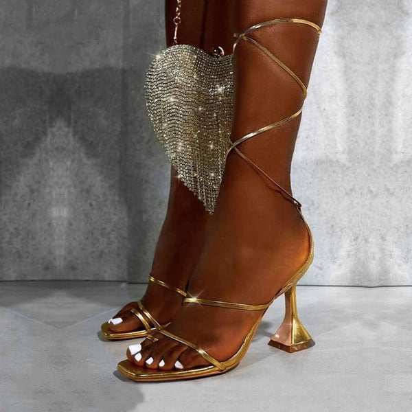 Gold Square Toe Lace-up Sandals - Trendo Chic