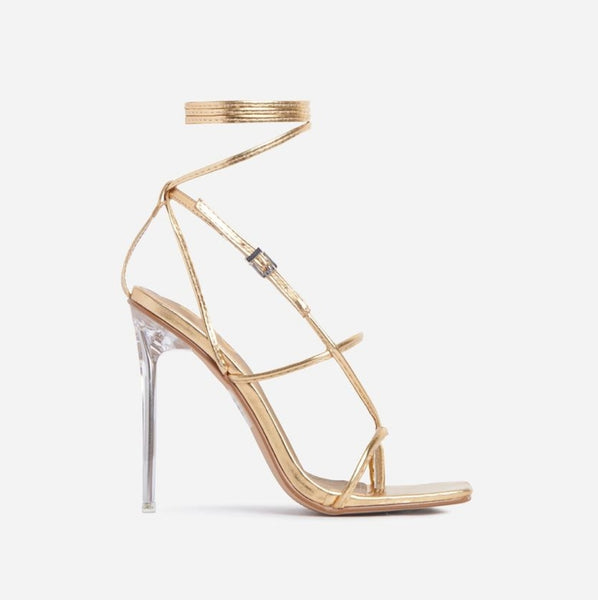 Gold Lace-up Sandals - Trendo Chic