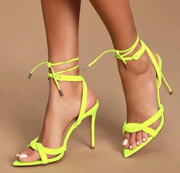 Green Pointed Toe Lace-up Sandals - Trendo Chic