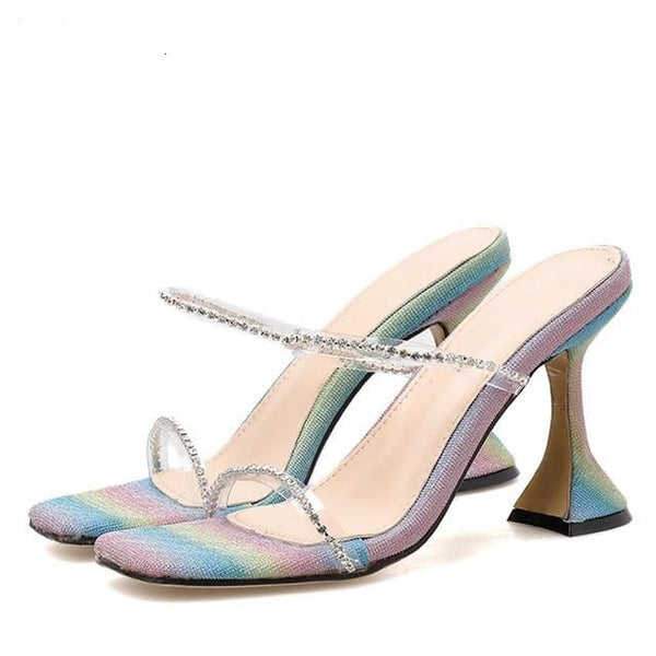 Multicolored Rhinestone Strappy Heels - Trendo Chic