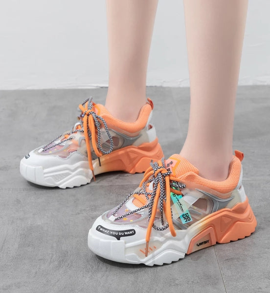Orange Chunky Sneakers for Women - Trendo Chic