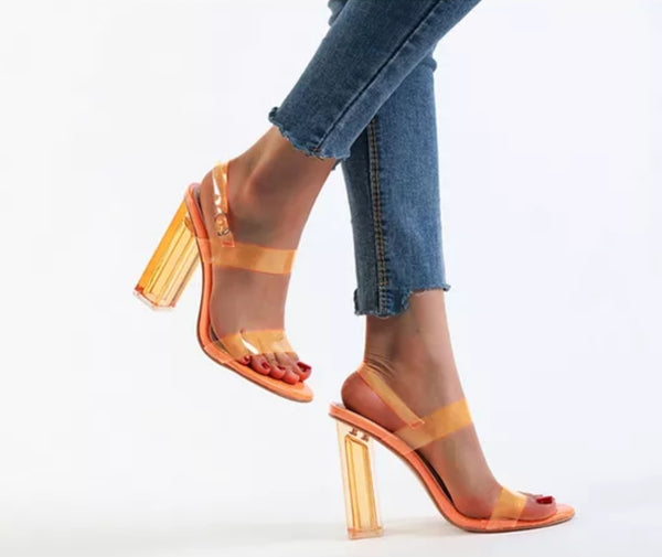 Orange Transparent Heel Sandals - Trendo Chic