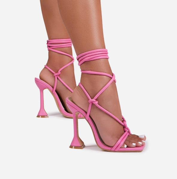 Pink Pyramid Heel Lace-up Sandals - Trendo Chic
