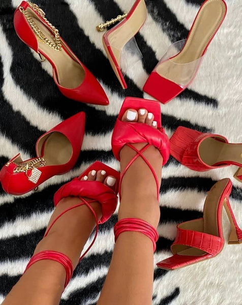 Red Lace-up Heels - Trendo Chic