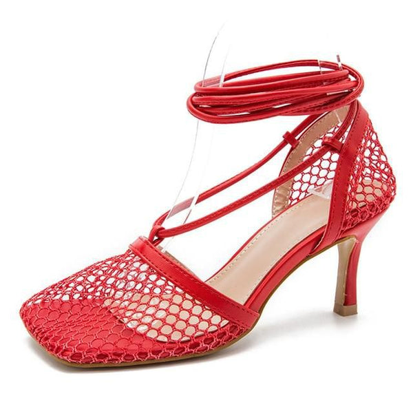 Red Mesh Lace-up Heels - Trendo Chic