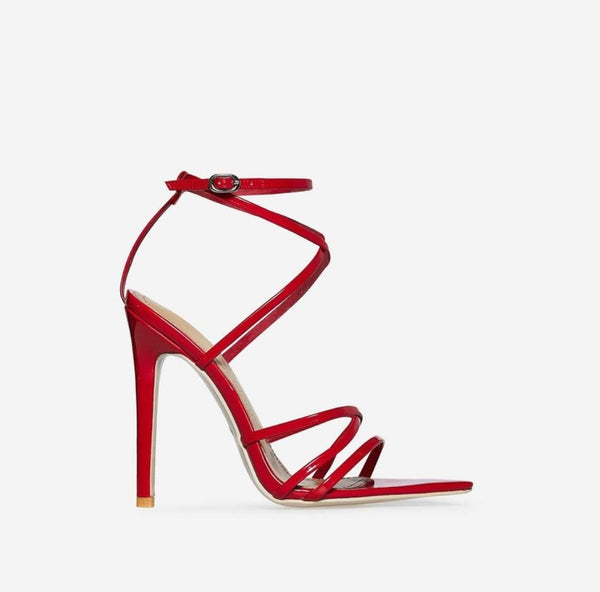 Red Strappy Pointed Toe Sandals - Trendo Chic
