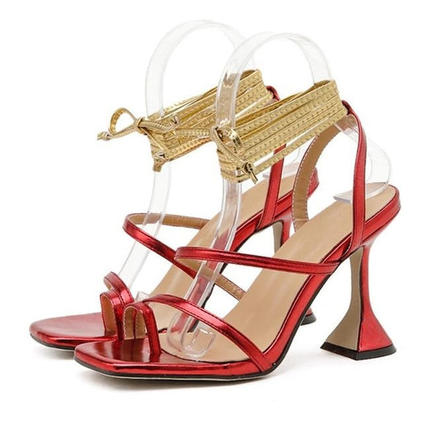Red Square Toe Lace-up Sandals - Trendo Chic