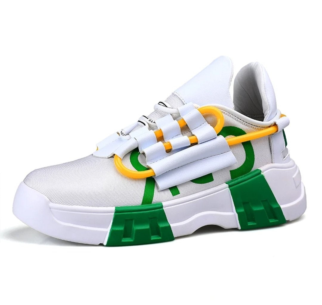 White & Green Retro Sneakers - Trendo Chic