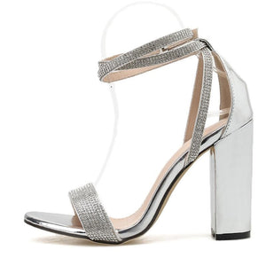Silver Diamante Block Heel Sandals - Trendo Chic