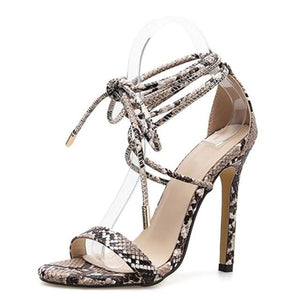 Snake Print Lace-up Sandals - Trendo Chic