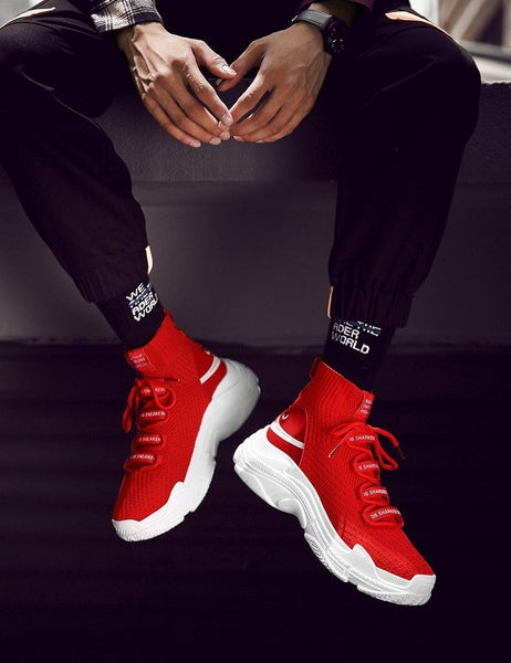 Red Sock-Style High-Top Sneakers - Trendo Chic