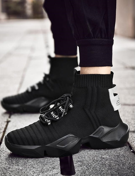 Black Sock-Style High-Top Sneakers - Trendo Chic