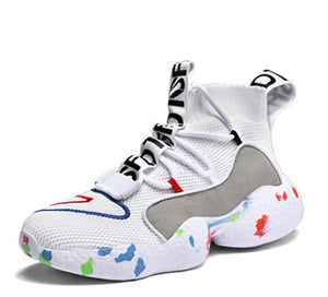 White & Colored Sole Sock-Style Sneakers - Trendo Chic
