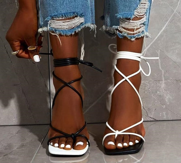 Contrast Lace-up Sandals - Trendo Chic