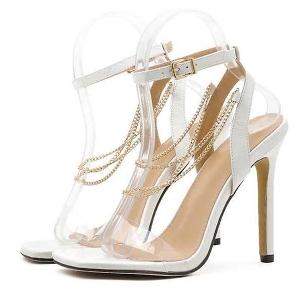 White Buckle Strap High Heels Sandals - Trendo Chic