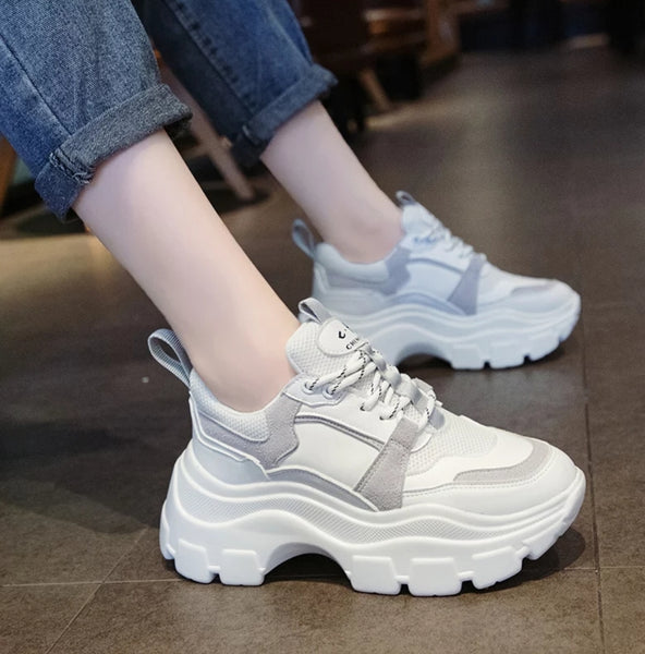 White Chunky Sneakers for Women - Trendo Chic