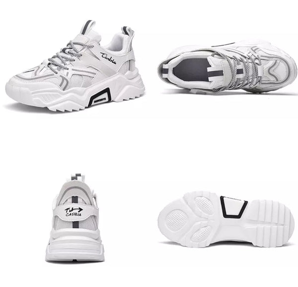 White & Gray Contrast Sneakers - Trendo Chic