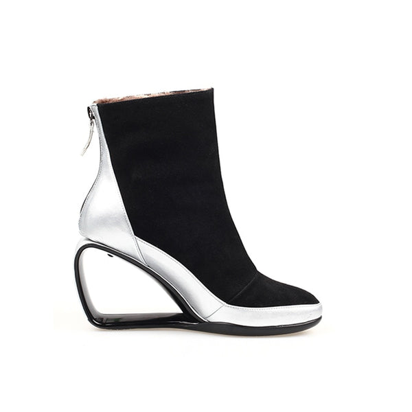 Silver Hollow Wedge Ankle Boots - Trendo Chic