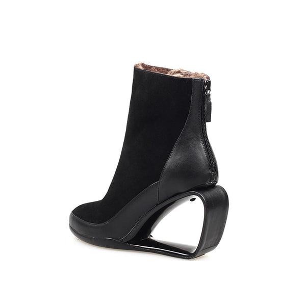 Black Hollow Wedge Ankle Boots - Trendo Chic