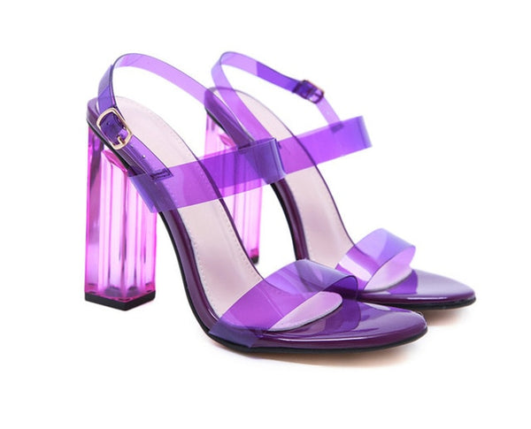 Purple Transparent Heel Sandals - Trendo Chic
