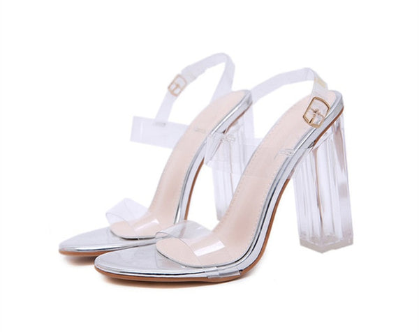 Silver Transparent Heel Sandals - Trendo Chic
