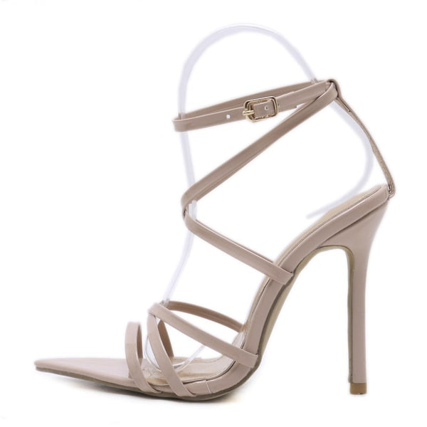 Beige Strappy Pointed Toe Sandals - Trendo Chic