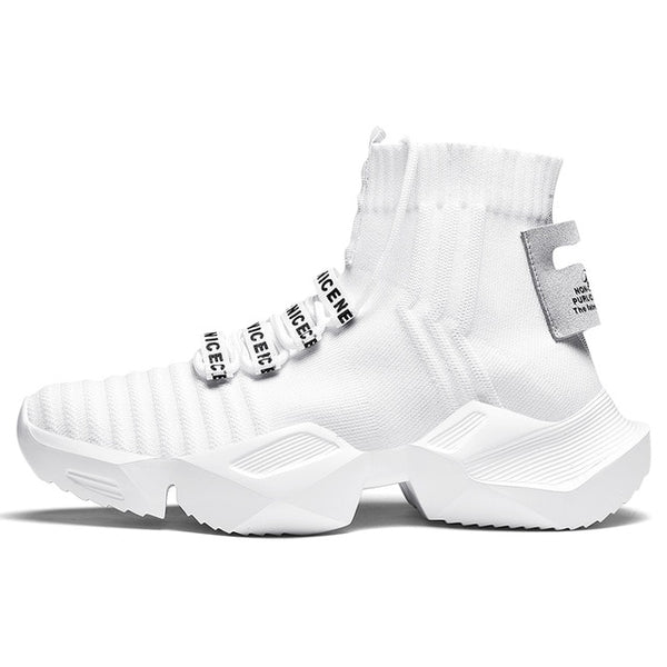 White Sock-Style High-Top Sneakers - Trendo Chic